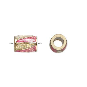 bead, dione, gold-finished pewter (zinc-based alloy) and enamel, transparent pink and clear with glitter, 12x9mm barrel with triangle design, 5mm hole. sold individually.