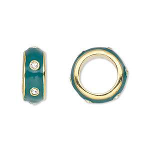 bead, dione, gold-finished pewter (zinc-based alloy) and enamel with swarovski crystals, green and crystal clear, 14x5.5mm rondelle with 9.5mm hole. sold individually.