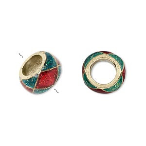 bead, dione, gold-finished pewter (zinc-based alloy)/epoxy/enamel, transparent red and green with glitter, 13x7mm rondelle with diamond design, 7mm hole. sold individually.