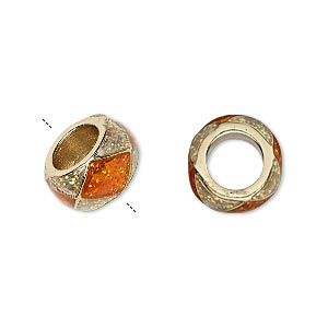 bead, dione, gold-finished pewter (zinc-based alloy)/epoxy/enamel, transparent orange and clear with glitter, 13x7mm rondelle with diamond design, 7mm hole. sold individually.