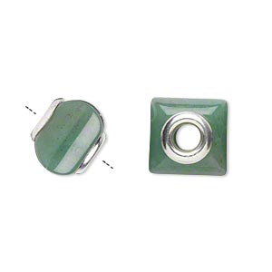 bead, dione, green aventurine (natural) and sterling silver grommets, 11x10mm-13x11mm square rondelle with 4mm hole, b grade, mohs hardness 7. sold individually.