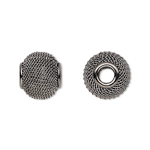 bead, dione, gunmetal-plated steel, 14x12mm mesh rondelle with 4mm hole. sold per pkg of 6.