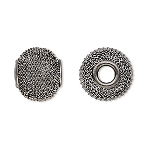 bead, dione, gunmetal-plated steel, 16x13mm mesh rondelle with 4.5mm hole. sold per pkg of 6.