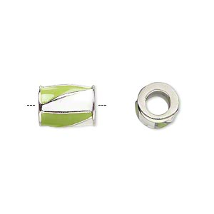 bead, dione, imitation rhodium-finished pewter (zinc-based alloy) and enamel, opaque lime green and white, 12x9mm barrel with triangle design, 5mm hole. sold individually.