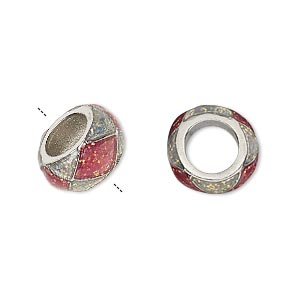 bead, dione, imitation rhodium-finished pewter (zinc-based alloy)/epoxy/enamel, transparent pink and clear with glitter, 13x7mm rondelle with diamond design, 7mm hole. sold individually.