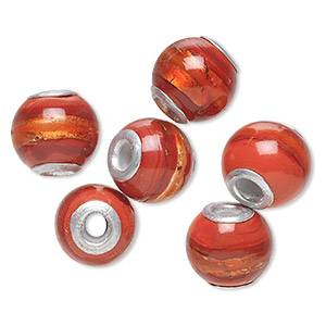 bead, dione, lampworked glass and aluminum, opaque red and dark red with silver-colored foil, 14mm round with 3mm hole. sold per pkg of 6.