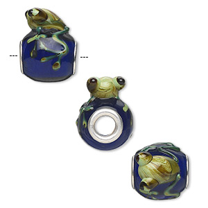 bead, dione, lampworked glass and silver-plated brass grommets, opaque multicolored, 20x16mm oval with swirled frog, 5mm hole. sold individually.