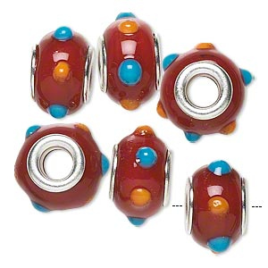 bead, dione, lampworked glass with silver-plated brass grommets, opaque red and blue and orange, 14x9mm rondelle with bumpy dots and 4.5-5mm hole. sold per pkg of 6.