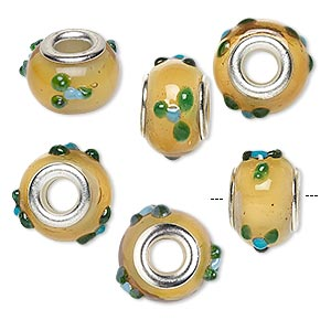 bead, dione, lampworked glass with silver-plated brass grommets, opaque yellow/olive green/blue, 14x9mm rondelle with bumpy flowers and 4.5-5mm hole. sold per pkg of 6.