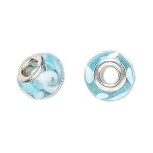 bead, dione, lampworked glass with silver-plated brass grommets, semitransparent light blue and opaque white, 14x9mm rondelle with swirls and 4.5-5mm hole. sold per pkg of 6.