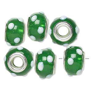 bead, dione, lampworked glass with silver-plated brass grommets, semitransparent green and opaque white, 14x9mm rondelle with bumpy dots and 4.5-5mm hole. sold per pkg of 6.