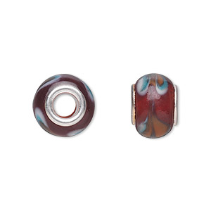bead, dione, lampworked glass with silver-plated steel grommets, dark red with swirls, 14x10mm rondelle with 4.5-5mm hole. sold per pkg of 6.