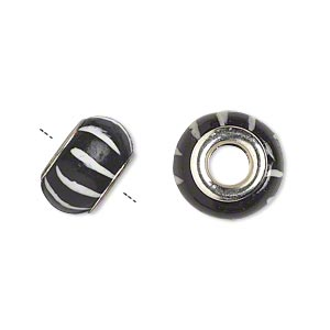 bead, dione, polymer clay and silver-plated brass grommets, black and white, 14x8mm rondelle with striped design and 5mm hole. sold per pkg of 6.