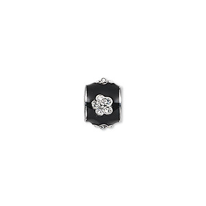 bead, dione, rhodium-finished pewter (zinc-based alloy)/enamel/swarovski rhinestone, black and clear, 10x8mm drum with flower, 5mm hole. sold individually.