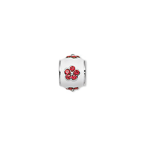 bead, dione, rhodium-finished pewter (zinc-based alloy)/enamel/swarovski rhinestone, white and red, 10x8mm drum with flower, 5mm hole. sold individually.