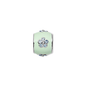 bead, dione, rhodium-finished pewter (zinc-based alloy)/enamel/swarovski rhinestone, light green and aqua blue, 12x10mm drum with flower, 7mm hole. sold individually.