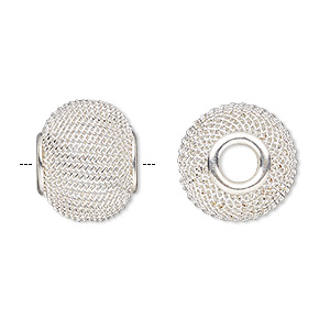 bead, dione, silver-plated steel, 16x13mm mesh rondelle with 4.5mm hole. sold per pkg of 6.