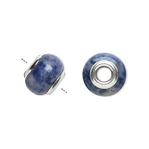 bead, dione, sodalite (natural) and sterling silver grommets, 11x8mm-13x9mm rondelle with 4mm hole, b grade, mohs hardness 5 to 6. sold individually.