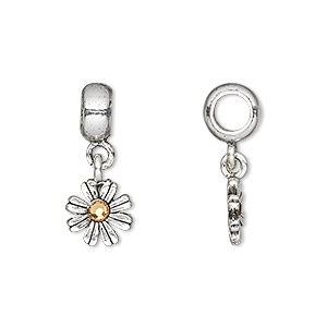 bead, dione, swarovski crystals and antique silver-plated pewter (tin-based alloy), light colorado topaz, 23x10mm overall, 10mm single-sided flower dangle, 5mm hole. sold individually.