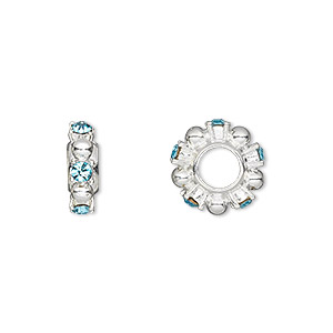 bead, dione, swarovski crystals and silver-plated pewter (tin-based alloy), aquamarine, 12x4mm beaded rondelle with 2mm faceted round, 5mm hole. sold individually.