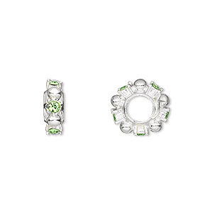 bead, dione, swarovski crystals and silver-plated pewter (tin-based alloy), peridot, 12x4mm beaded rondelle with 2mm faceted round, 5mm hole. sold individually.