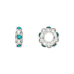bead, dione, swarovski crystals and silver-plated pewter (tin-based alloy), blue zircon, 12x4mm beaded rondelle with 2mm faceted round, 5mm hole. sold individually.
