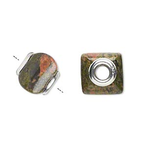 bead, dione, unakite (natural) and sterling silver grommets, 11x10mm-13x11mm square rondelle with 4mm hole, b grade, mohs hardness 6 to 7. sold individually.