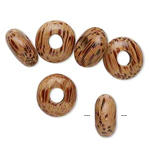 bead, dione, wood (waxed), tan and light brown, 14x7mm hand-cut rondelle with 5-5.5mm hole. sold per pkg of 6.