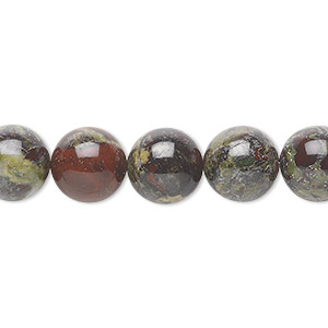 bead, dragon blood jasper (natural), 10mm round, b grade, mohs hardness 6-1/2 to 7. sold per 16-inch strand.