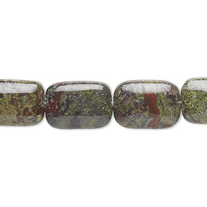 bead, dragon blood jasper (natural), 14x10mm rectangle, b grade, mohs hardness 6-1/2 to 7. sold per 16-inch strand.