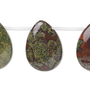 bead, dragon blood jasper (natural), 25x18mm top-drilled teardrop, b grade, mohs hardness 6-1/2 to 7. sold per 16-inch strand.