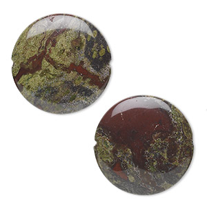 bead, dragon blood jasper (natural), 30mm flat round, b grade, mohs hardness 6-1/2 to 7. sold per pkg of 2.