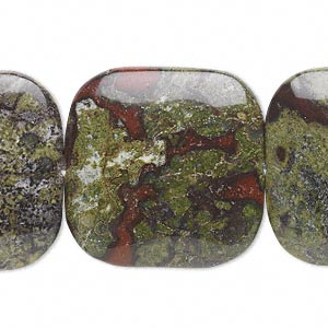 bead, dragon blood jasper (natural), 30x30mm flat square, b grade, mohs hardness 6-1/2 to 7. sold per 16-inch strand.