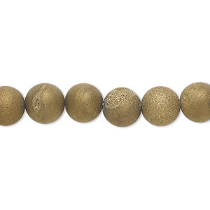 bead, druzy agate (coated), opaque matte golden, 8mm hand-cut round, b- grade, mohs hardness 6-1/2 to 7. sold per 8-inch strand, approximately 25 beads.