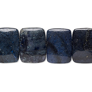 bead, dumortierite (natural), 18x13mm 2-strand rounded flat rectangle, b grade, mohs hardness 7. sold per 8-inch strand, approximately 15 beads.