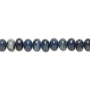 bead, dumortierite (natural), 6x4mm hand-cut rondelle, b grade, mohs hardness 7. sold per 16-inch strand.