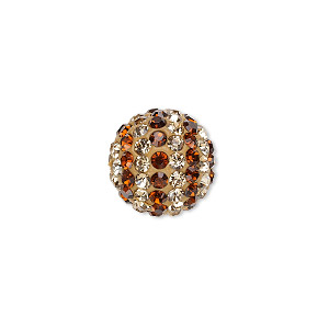bead, egyptian glass rhinestone / epoxy / resin, brown and champagne, 14mm round with pave striped design. sold individually.