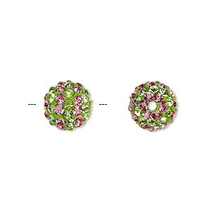 bead, egyptian glass rhinestone / epoxy / resin, green and dark pink, 10mm round with pave striped design. sold individually.