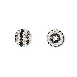 bead, egyptian glass rhinestone / epoxy / resin, white / black / clear ab, 10mm round with pave striped design. sold individually.