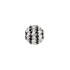 bead, egyptian glass rhinestone / epoxy / resin, white / clear / black, 12mm round with pave striped design. sold individually.