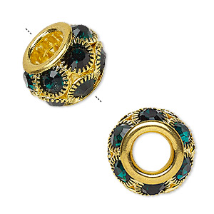 bead, egyptian glass rhinestone and gold-finished pewter (zinc-based alloy), emerald green, 18x12mm rondelle with 8mm hole. sold individually.