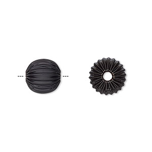 bead, electro-coated brass, black, 10mm corrugated round. sold per pkg of 10.