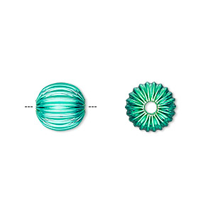 bead, electro-coated brass, green, 10mm corrugated round. sold per pkg of 10.