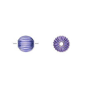 bead, electro-coated brass, purple, 8mm corrugated round. sold per pkg of 10.