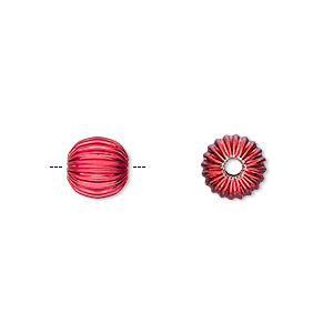 bead, electro-coated brass, red, 8mm corrugated round. sold per pkg of 10.