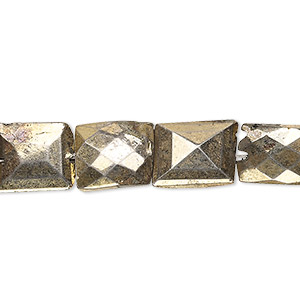 bead, electro-coated golden pyrite (coated), 11x9mm-15x11mm hand-cut faceted puffed rectangle, c- grade, mohs hardness 6. sold per 7-inch strand.