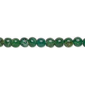 bead, emerald green aventurine (natural), 4-5mm hand-cut round, c grade, mohs hardness 7. sold per 12-inch strand.