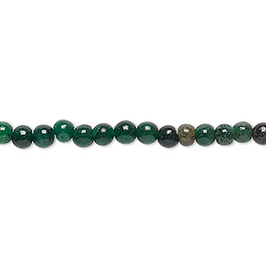 bead, emerald green aventurine (natural), 4-5mm hand-cut round, d grade, mohs hardness 7. sold per 12-inch strand.