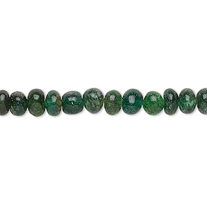 bead, emerald green aventurine (natural), 5x3mm-7x5mm hand-cut rondelle, c grade, mohs hardness 7. sold per 12-inch strand.