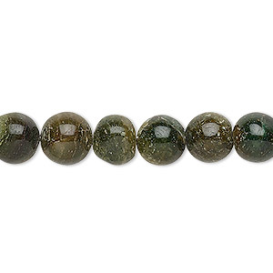 bead, emerald green aventurine (natural), 7-9mm hand-cut round, d grade, mohs hardness 7. sold per 12-inch strand.